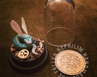 Miniature Fae Ice Dragon in a Dome - Steampunk Inspired - Fairy - Tiny - Fallen Nephilim Handmade - OOAK Sculpture - Polymer Clay - Feather
