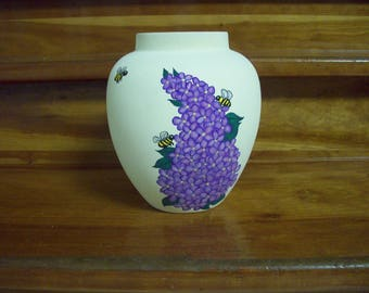 Lilac vase and handpainted bees