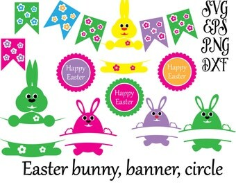 Easter svg,Easter Bunny, Banner,Circle, DXF EPS SVG Files For Silhouette Studio, Cricut Design Space, Commercial use -Instant DownLoad