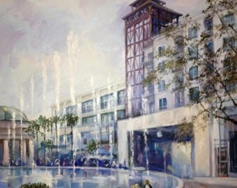The Americana at Brand, Glendale, CA Oil painting