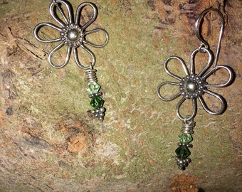 Indonesian Bali Sterling Silver Flower Austrian Crystal Earrings