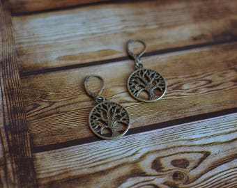 Antique, vintage, bronze, dangle, drop, Tree of life, earrings, trees, lever back, Easter, Gifts, Giftsforher, Spring, Steampunk, Sale