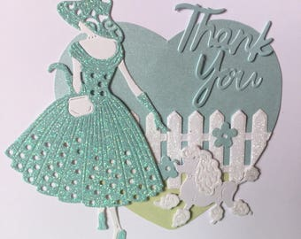 Thank You Handmade Diecut Glitter Card