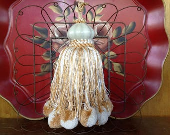 Vintage Silk & Cotton Ivory and Gold Tassel with Pom Poms