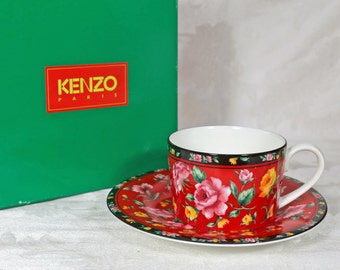 Kenzo Paris Tea Cup and Saucer Set Like New Produced by Aito Made in Japan