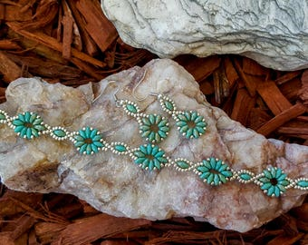 Floral Lace (Silver) Beaded Bracelet and/or Earrings - can be purchased together or separately