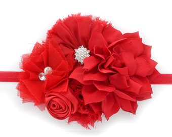 Red Baby Shabby Fabric Flower Cluster Headband