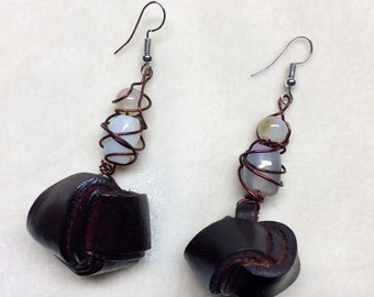 ESPRESSO LEATHER KNOTS  - Mixed Media earrings