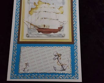 Handmade cards for all occasions, special individual gifts for him (Tall Ships)