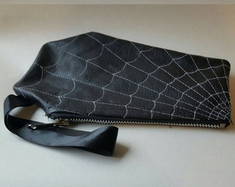 Goth Leather Spider Web Coffin Makeup Bag