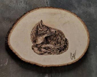 Wood-Burning: Startled Gray Fox