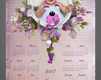 SALE! 2017 Calendar, Wall Calendar, Photo Calendar for baby, Photo Calendar for girlfriend, Happy Birthday