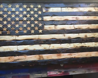 Hand-Carved Rustic Patriotic American Wooden Flag Charred/Burnt FREE SHIPPING!!!