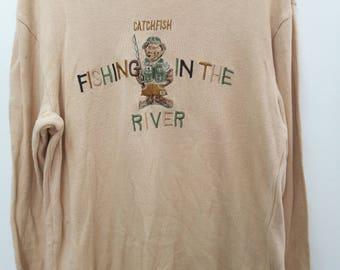 SALE! Vintage Jantzen Sweatshirt Streetwear Casual Fishing in the River