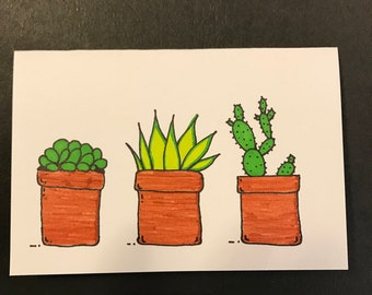 Blank Notecard, Cactus