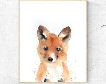Original Fox Cub Watercolour Fine Art Print, Woodlands Nursery Art, Fox Wall Decor, Baby Animal Print, Printable Fox Cub, Digital Download