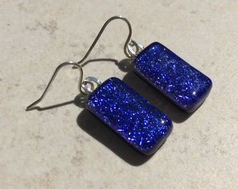 Dichroic Fused Glass Earrings - Blue Crinkle Earrings with Solid Sterling Ear Wires