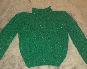 Hand-made sweater for 3-4yrs, 100% acrylic (knit - green with sparkles)