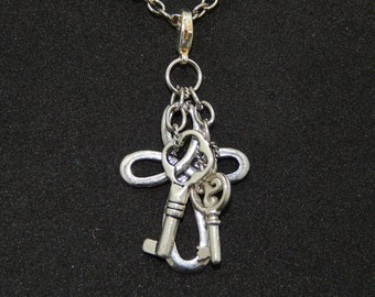 Cross and Keys Necklace Charm