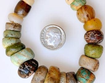 23 Old Mixed Excavated Stone Beads - Vintage African Trade Beads - 8029