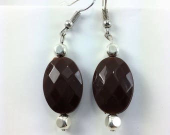 Brown chocolate earrings with silver studs #70