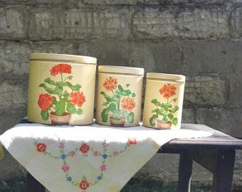 Vintage kitchen tin set floral coffee sugar flour set