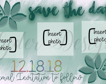 fun custom green save the date