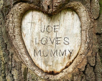 Mothers Day Carved Heart Print, Personalised Tree Carving, Personalised Heart Carving, Name Carving in Wood