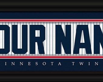 Minnesota Twins Jersey Stitch Personalized Print - FRAMED - MLB
