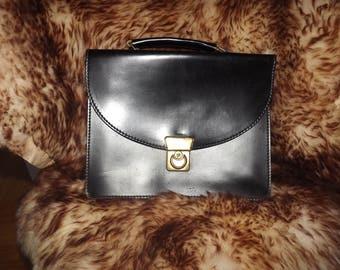 French Messenger Black Bag - Vintage Faux Leather Briefcase Satchel Bag