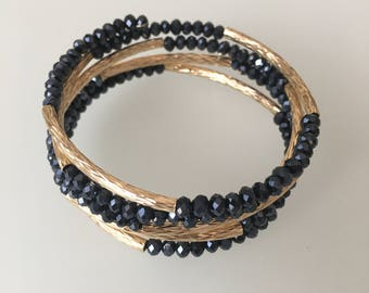 Black and Gold Memory Wire Bracelet