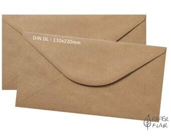 50 envelopes kraft paper DL