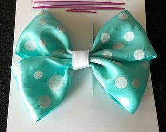 "Seafoam Green and White Polka Dot Bow Hair Accessory - 3.5"""