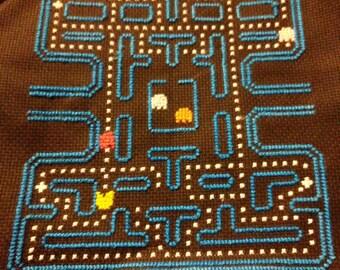 Pac Man Completed Cross Stitch, Nerd Decor, Geek Home, Video Game, Wall Art