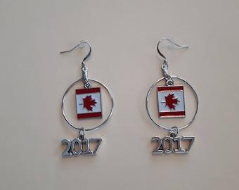Canada Flag Earrings with 2017 charm