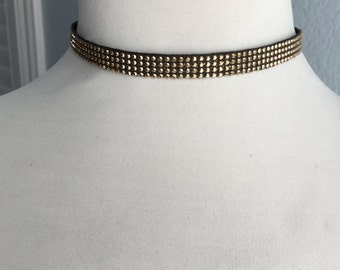 Brown and Gold Studded Choker