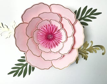 PDF PETAL #57 Paper Flower Template with Base, DIGITAL Version - The Cassandra - Original Design by Annie Rose