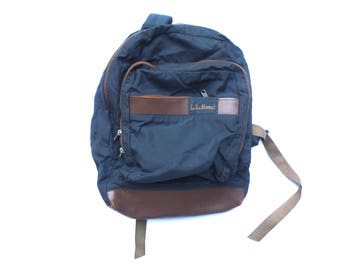 LL BEAN jansport style 90's LEATHER and nylon backpack
