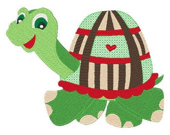 Happy Turtle  Embroidery Design 5x7 Hoop