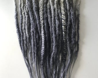 10 DE 15 SE - Dreadset - 10 double ended and 15 single ended Fox dreads in blond - grey