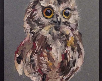 A Baby Owl  Original Miniature Oil Painting by Anna Pchelka Print