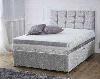 Crushed velvet double bed with mattress and headboard