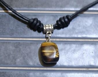 Eye of Tiger, leather, tiger eye, boho necklace pendant