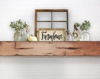 Floating Shelf Mantle - Barn Wood Style Beam - Farmhaus / Farmhouse