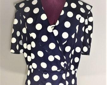 Extra Large Navy Blue White Polka Dot Blazer 1980s XL Padded Shoulders