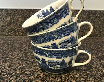 3 Vintage Blue Willow Cups By Kakusa