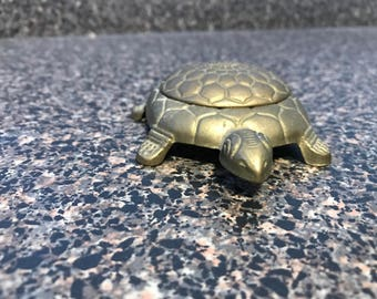 Small Brass Turtle Trinket Box