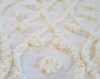 Vintage Chenille Bedspread Buttery Yellow