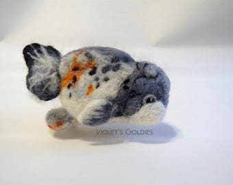 Needle Felted Goldfish Plush - Ranchu - Made to order