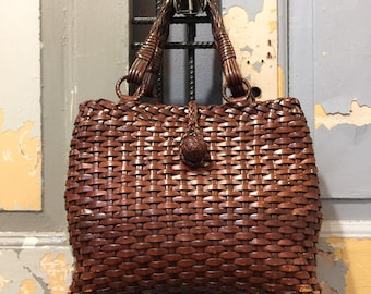 Vintage 80s Leather Woven Top Handle Bag, Women's Handbag